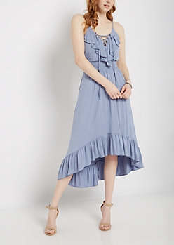 Ruffled Lace-Up Maxi Dress
