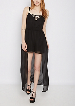 Black Lattice Maxi Romper