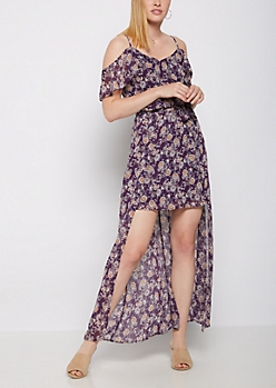 Wildflower Cold Shoulder Flutter Sleeve Maxi Dress