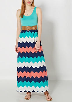 Watercolor Chevron Belted Maxi Dress