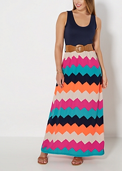Belted Chevron Tank Maxi Dress