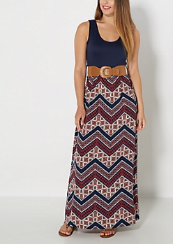 Belted Tribal Chevron Tank Maxi Dress