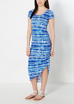Blue Striped Cinched Maxi Dress