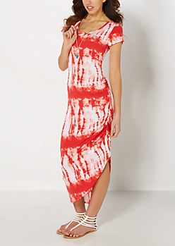 Coral Tie Dye Cinched Maxi Dress