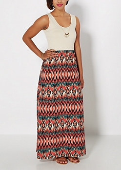 Ikat Necklace & Maxi Dress