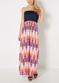 Aztec Streak Tube Maxi Dress