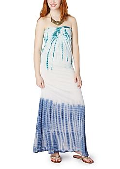 Turquoise Tie Dye Crochet Tube Maxi Dress