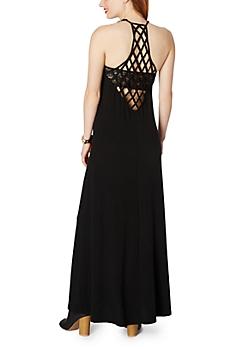 Black Lattice Maxi Dress