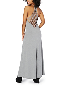 Heather Grey Lattice Maxi Dress
