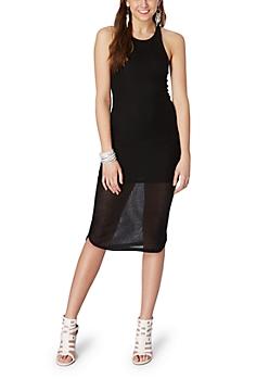 Black Ribbed Tank Midi Dress