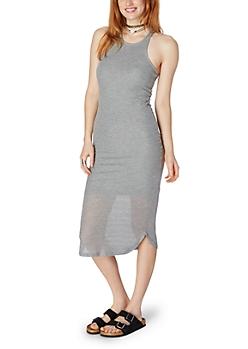 Heather Grey Ribbed Tank Midi Dress