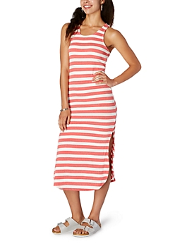 Coral Striped Ribbed Knit Dress