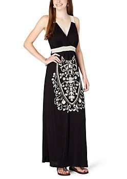 Black Floral Emblem Maxi Dress