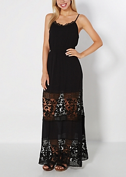 Black Crochet Illusion Maxi Dress