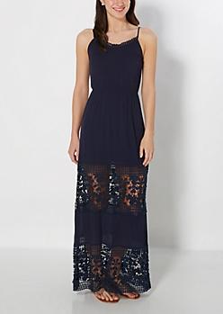 Navy Crochet Illusion Maxi Dress