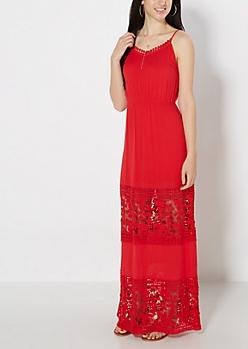 Red Crochet Illusion Maxi Dress
