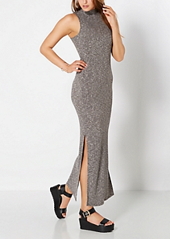 Charcoal Grey Sleeveless Ribbed Maxi Dress