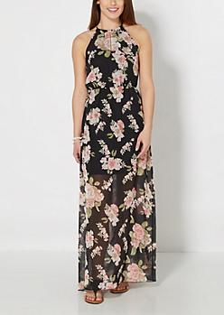 Floral Chiffon Halter Maxi Dress