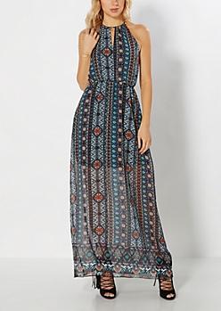 Southwest Chiffon Halter Maxi Dress