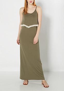 Olive Crochet Trim Popover Maxi Dress