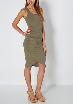 Olive Ruched Side Ribbed Tank Dress