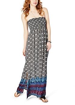 Multi Boho Smocked Tube Maxi Dress