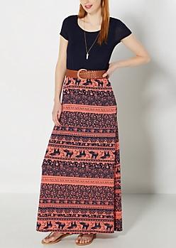 Folk Elephant Belted Maxi Dress