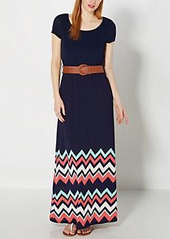 Mint & Pink Chevron Belted Maxi Dress
