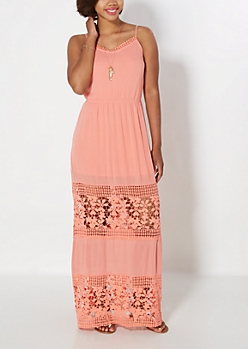 Coral Floral Crochet Illusion Maxi Dress