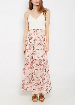 Floral Chiffon & Flocked Lace Maxi Dress