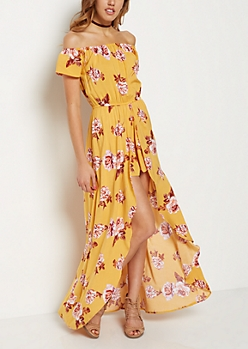 Mustard Rose Off-Shoulder Maxi Romper