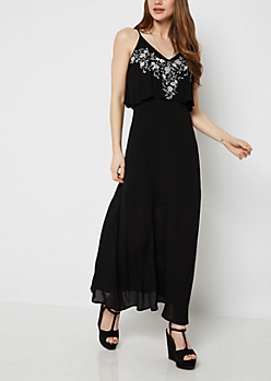 Rose Climber Flounce Maxi Dress