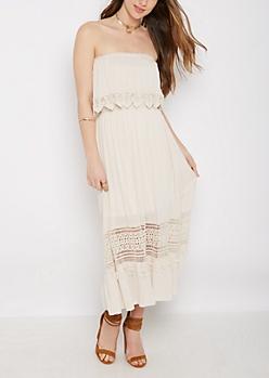 Crochet Popover Gauze Tube Dress