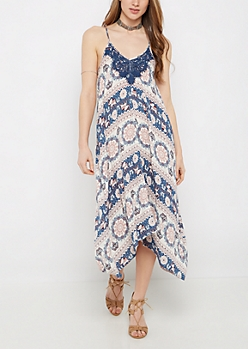 Elephant Boho Hanky Hem Maxi Dress