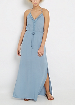 Crochet V-Neck Halter Maxi Dress