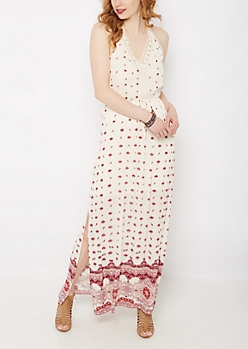 Boho Medallion Halter Maxi Dress