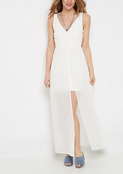 Ivory Bodycon Chiffon Maxi Dress