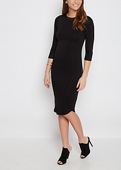 Black Soft Knit Midi Dress