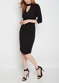 Black Mock Neck Keyhole Knit Dress