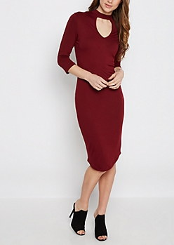 Burgundy Mock Neck Keyhole Knit Dress