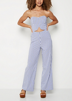 Striped Cutout Flare Jumpsuit