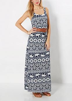 Bohemian Elephant Belted Maxi Dress