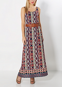 Aztec Belted Maxi Dress