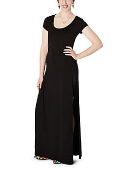 Black Double Split Maxi Dress