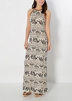 Vintage Boho Split Maxi Dress