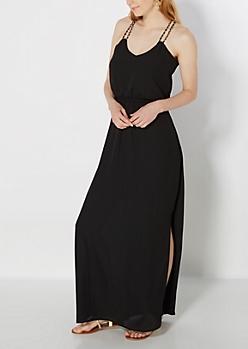 Black Chain Strapped Maxi Dress