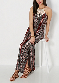 Crochet Yoke Tribal Maxi Dress
