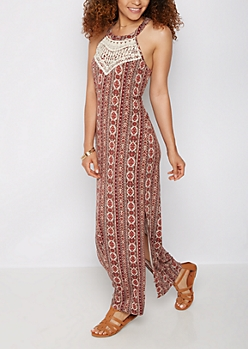 Tribal Crochet Neck Maxi Dress