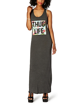 Thug Life Knotted Neck Maxi Dress