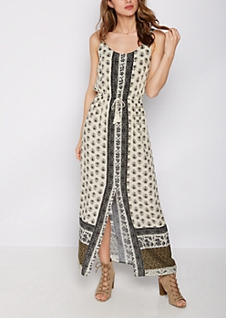 Boho Border Print Slit Front Maxi Dress